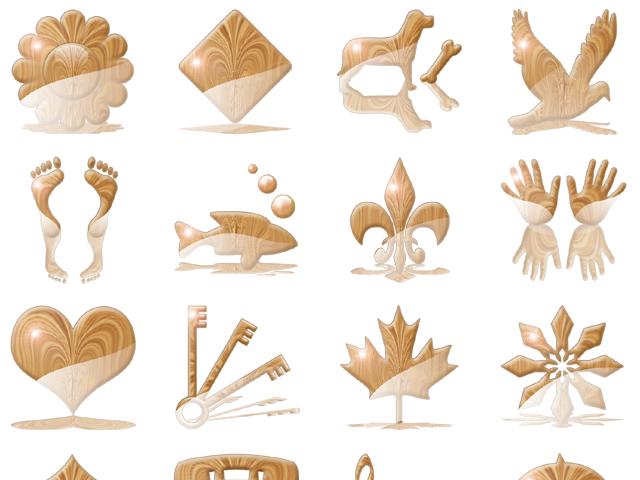 Aqua Woodcut Icons